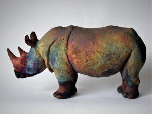 Nashorn Kupfermatt im Rakuofen gebrannt