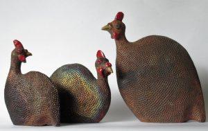 Stockdreher Perlhühner aus dem Raku-Ofen